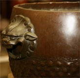 Bronze Hibachi on carved wood base image 3