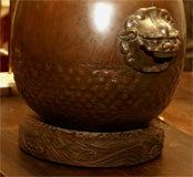 Bronze Hibachi on carved wood base image 5