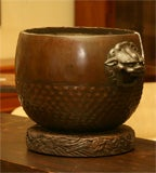 Bronze Hibachi on carved wood base image 6