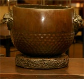 Bronze Hibachi on carved wood base image 7