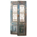 Pair of Carved Painted & Iron Doors C. 1900