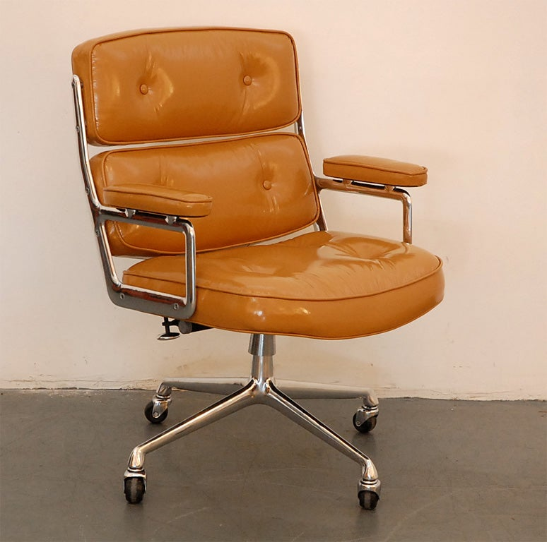 Camel Patent Leather Time Life Chair at 1stdibs