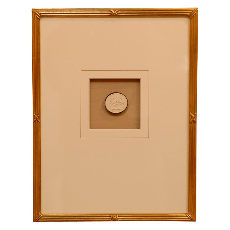 19th Century Italian Intaglios with Classical Themes in Gilt Neoclassical Frames