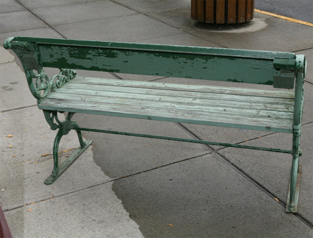 Wrought iron park bench at 1stdibs Wrought iron outdoor bench