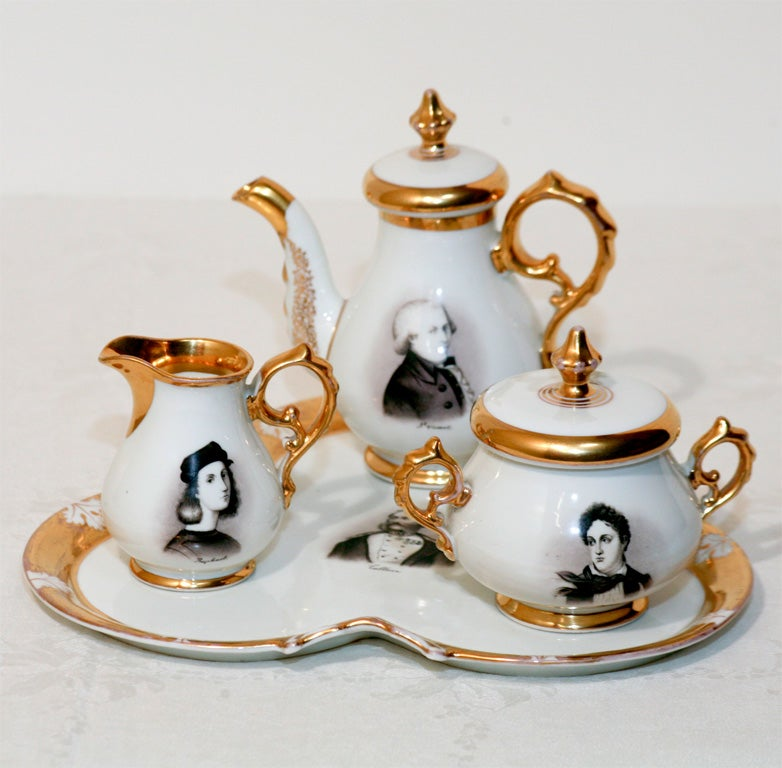 "French Old Paris Hand-Painted Tea Set on Tray ""Men of Letters"" For Sale"