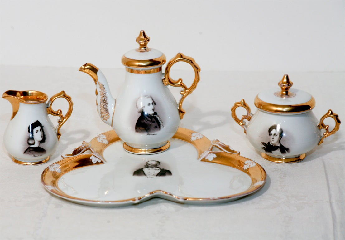 "Old Paris Hand-Painted Tea Set on Tray ""Men of Letters"" For Sale 1"