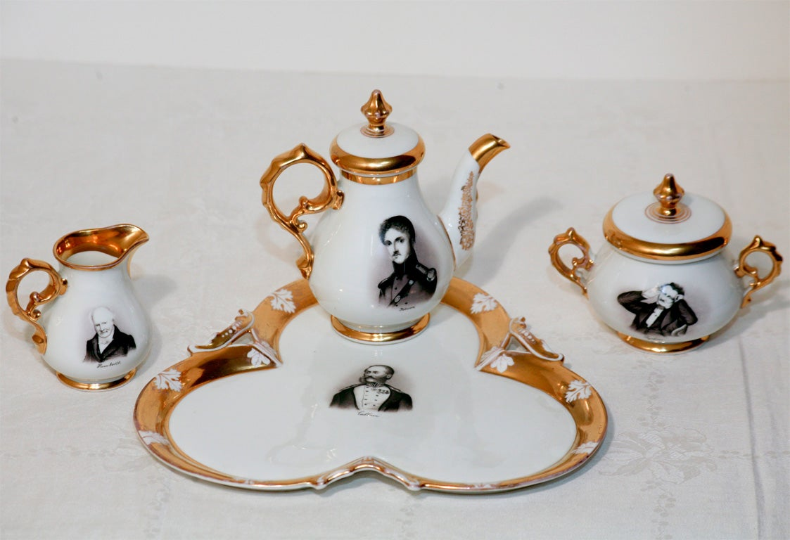"Old Paris Hand-Painted Tea Set on Tray ""Men of Letters"" For Sale 2"