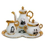 "Old Paris Hand-Painted Tea Set on Tray ""Men of Letters"""