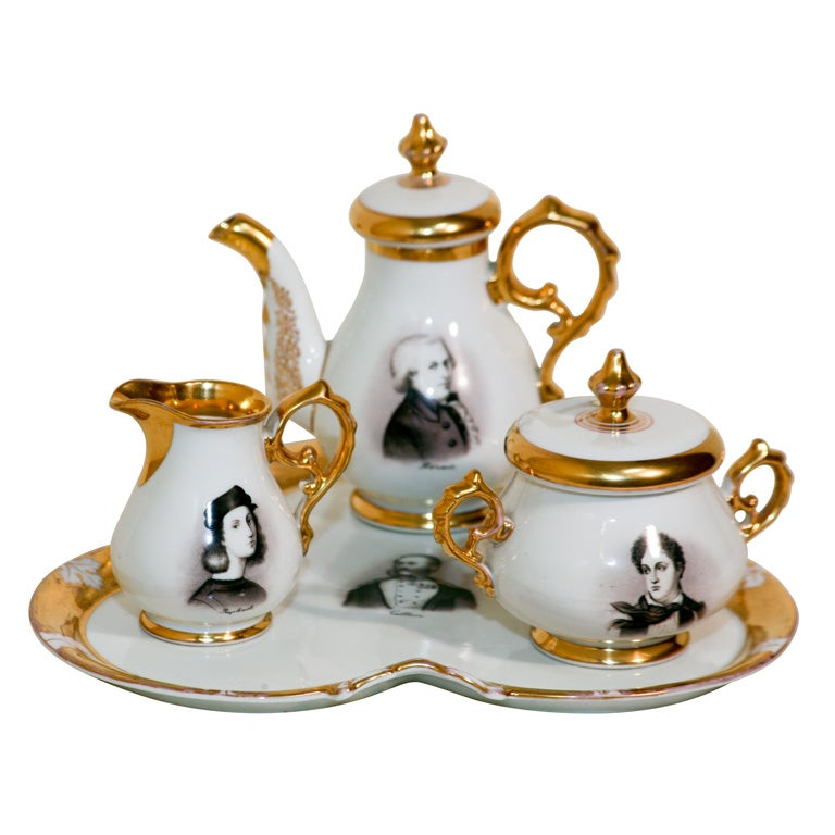 "Old Paris Hand-Painted Tea Set on Tray ""Men of Letters"" For Sale"
