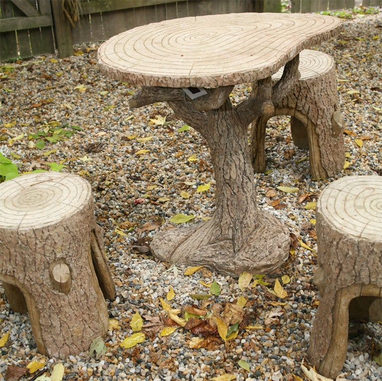 Faux Bois Table and Chair Set For Sale 4