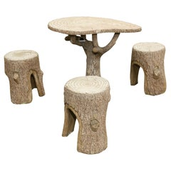 Faux Bois Table and Chair Set