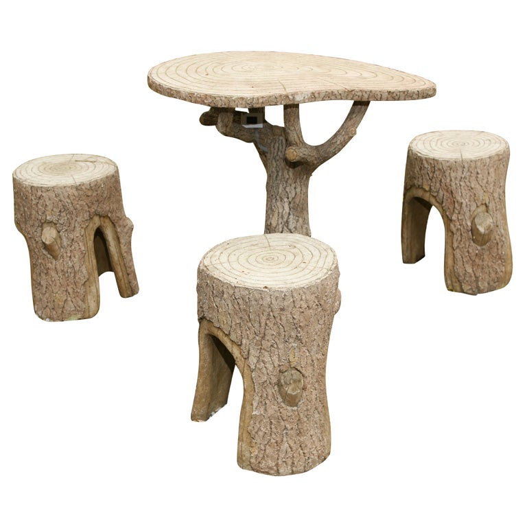 Faux Bois Table and Chair Set For Sale
