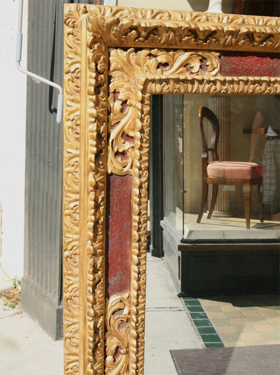 Large Italian Gilt and Painted Frame with Antiqued Mirror Plate In Good Condition For Sale In Hudson, NY