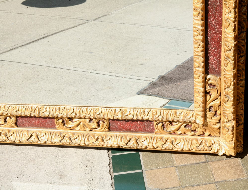 Large Italian Gilt and Painted Frame with Antiqued Mirror Plate For Sale 2