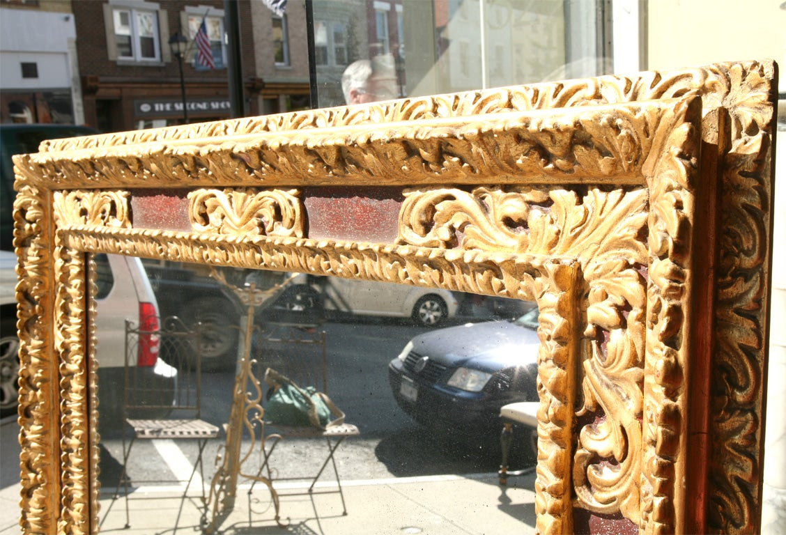 Large Italian Gilt and Painted Frame with Antiqued Mirror Plate For Sale 3