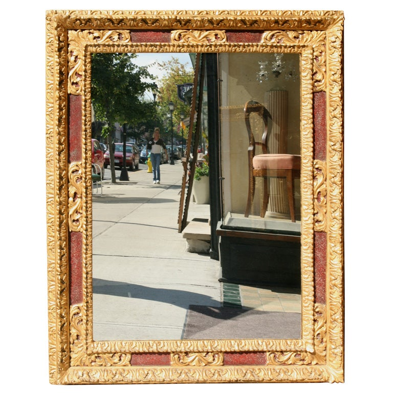 Large Italian Gilt and Painted Frame with Antiqued Mirror Plate