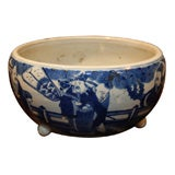 19th Century Chinese Qing Period Tongzhi Blue and White Porcelain Cachepot