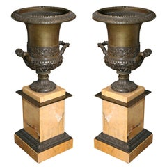 Pair of 19th Century Bronze and Sienna Marble Urns