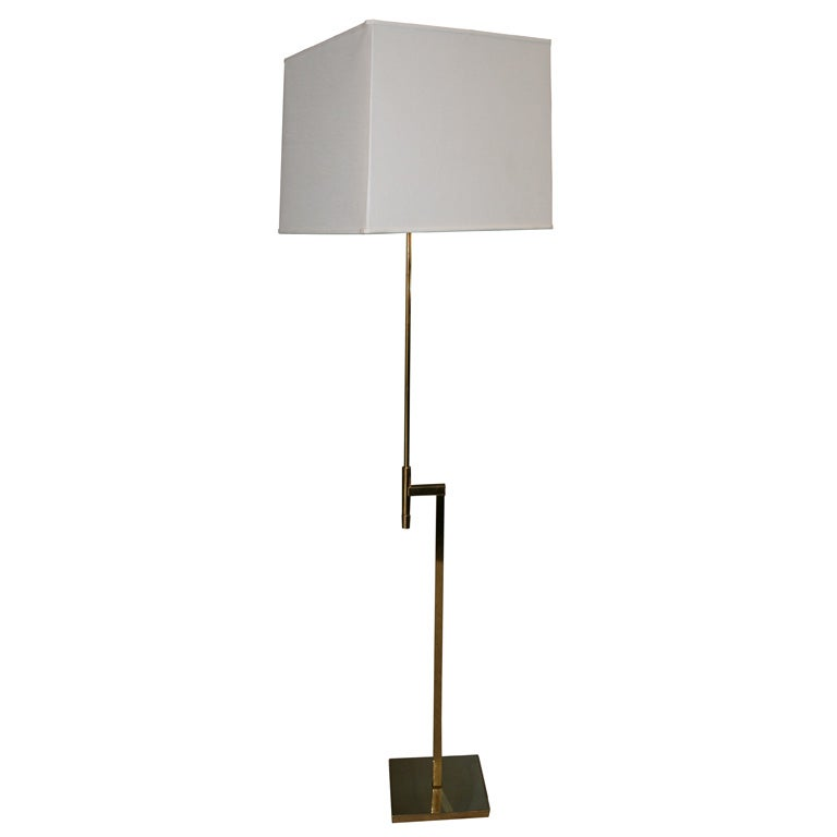 Wall Lamp Height From Floor : Adjustable height Laurel floor lamp with brass base at 1stdibs