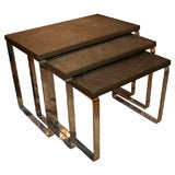 Set of three chrome and slate nesting tables by Milo Baughman
