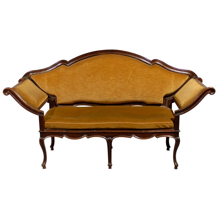 18th century Venetian Walnut Settee with Removable Back