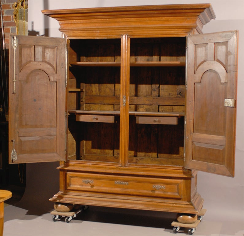Damaged Kitchen Cabinets For Sale: Large 19th Century Cabinet In Walnut With Bun Feet For