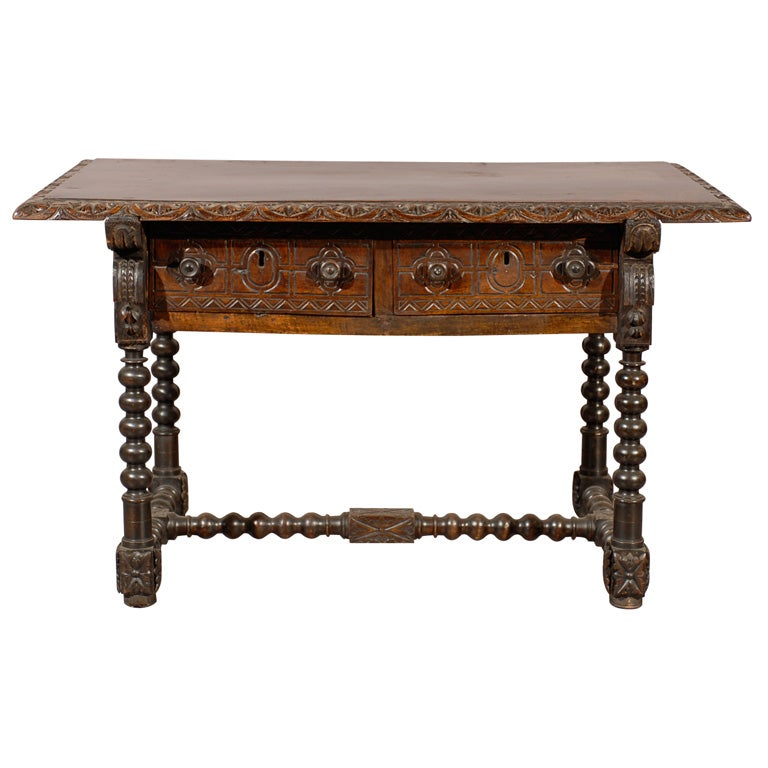 18th Century Spanish Library Table In Walnut With Carved Details 1