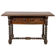 18th Century Spanish Library Table in Walnut with Carved Details