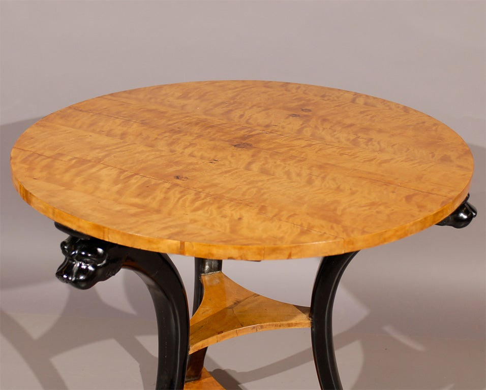19th century biedermeier gueidon table in birch with for Th 37px60b table top stand
