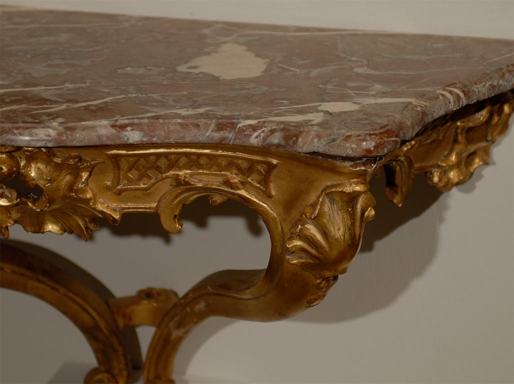 Wall Console Table 18th century louis xv giltwood wall console with marble top for