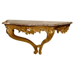 18th Century Louis XV Giltwood Wall Console with Marble Top