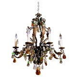Antique Chandelier. Fine iron chandelier with crystal fruit