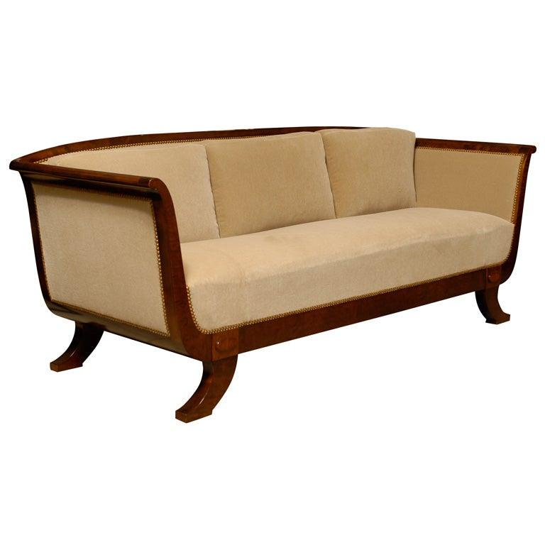 UPHOLSTERY SALE Swedish Flame Birch Empire Revival Sofa C