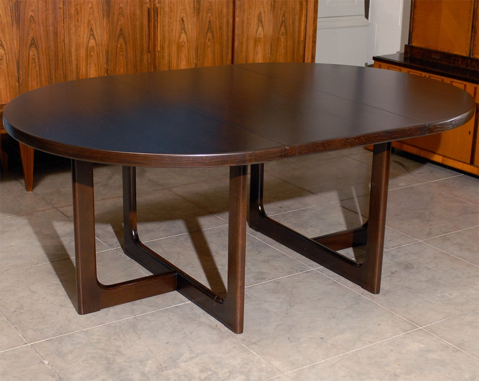 swedish mid century modern round extension dining table at