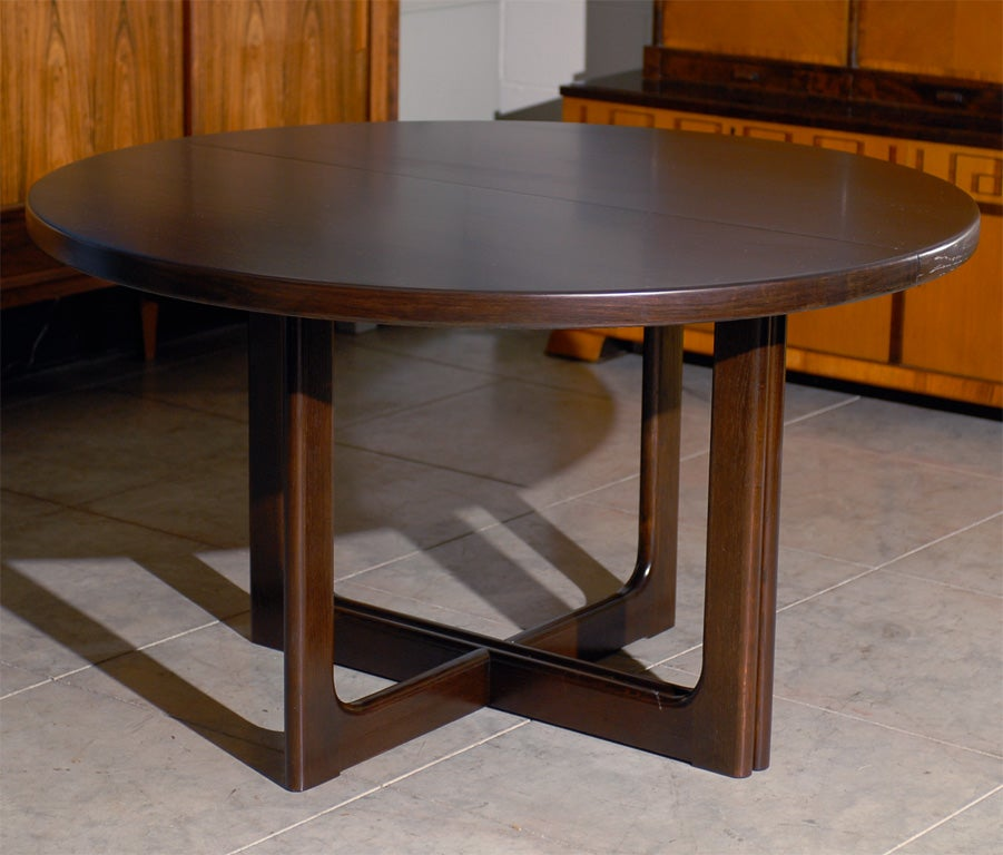 Swedish mid century modern round extension dining table at for Modern round dining room tables