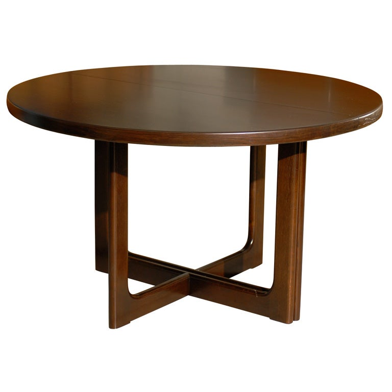 Swedish mid century modern round extension dining table at for Mid century modern dining table