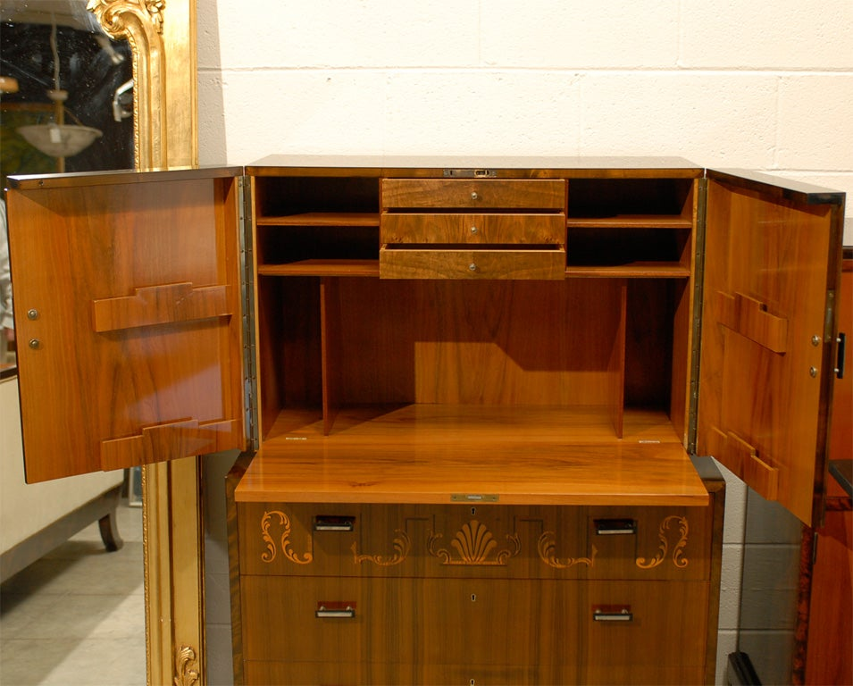 vintage swedish art deco intarsia inlaid secretaire and chest at 1stdibs. Black Bedroom Furniture Sets. Home Design Ideas