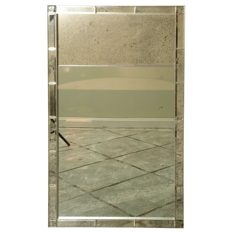 Beveled Mirror Frame with Silver Qilt