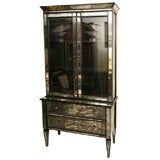Mirrored two drawer Hutch with Black Lacquer