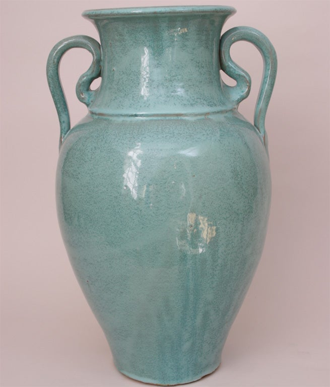 North Carolina Turquoise Floor Vase With Variegated Drip