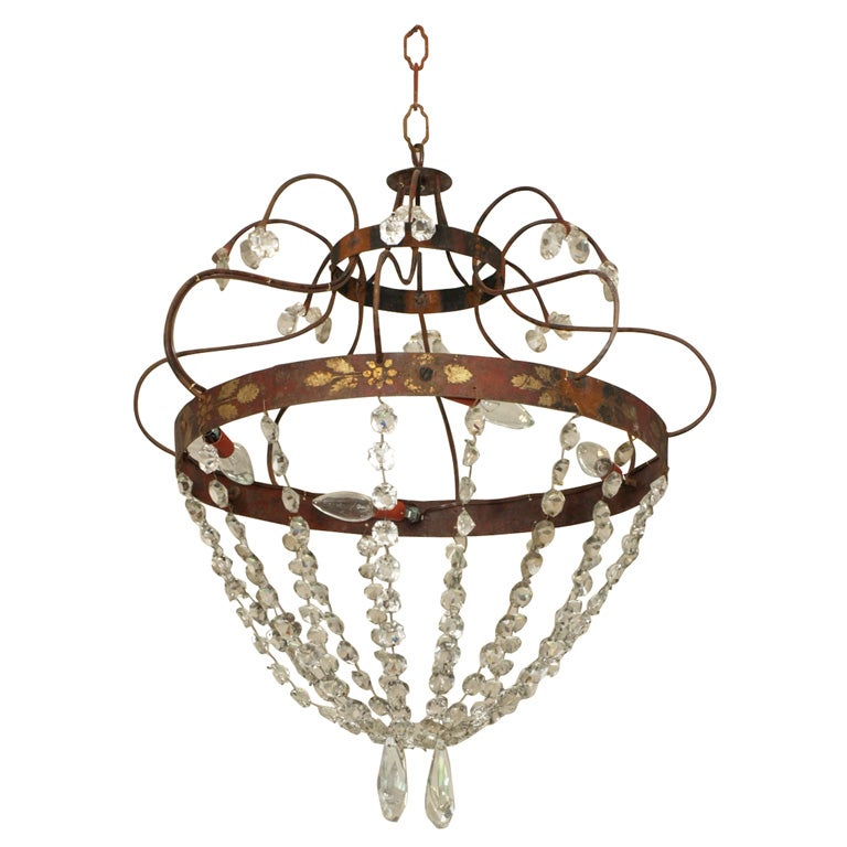 Crystal, Painted Iron Chandelier