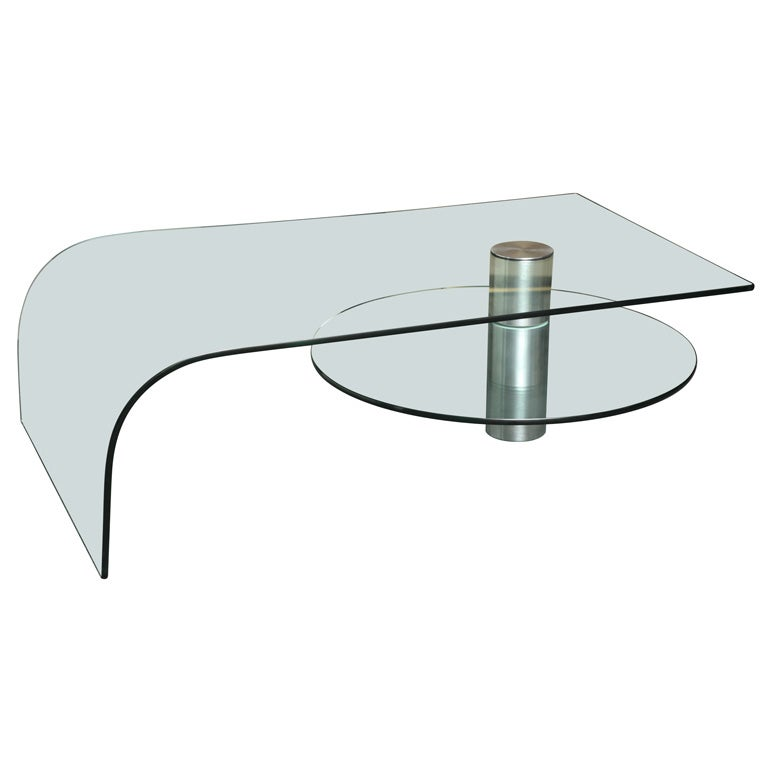 Fab Italian Glass Waterfall Coffee Table W Rotating Shelf At 1stdibs