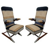 "Pair of Unusual ""Airline Captain"" Chairs"