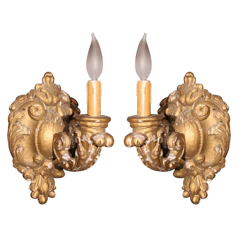 French Wooden Wall Lights : Pair French Carved Wood Sconces at 1stdibs