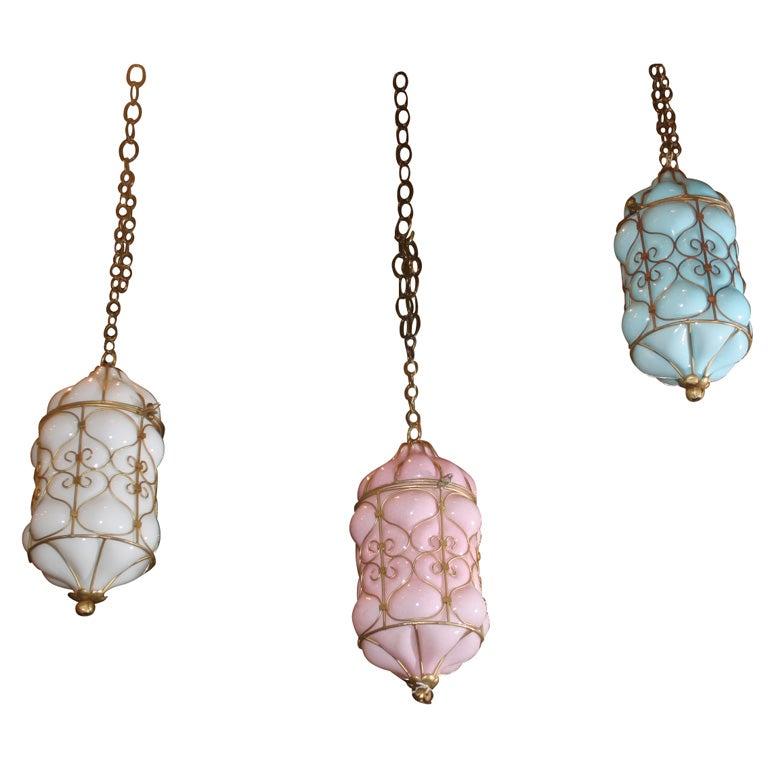 Set Of Three Murano Glass Pendant Lights At 1stdibs