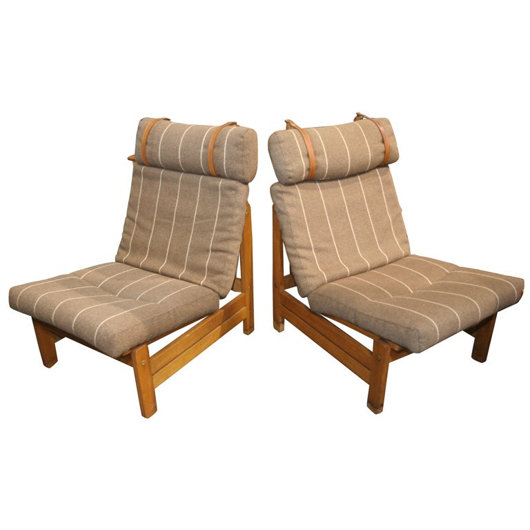 Oak High Back Lounge Chair with Leather Straps at 1stdibs