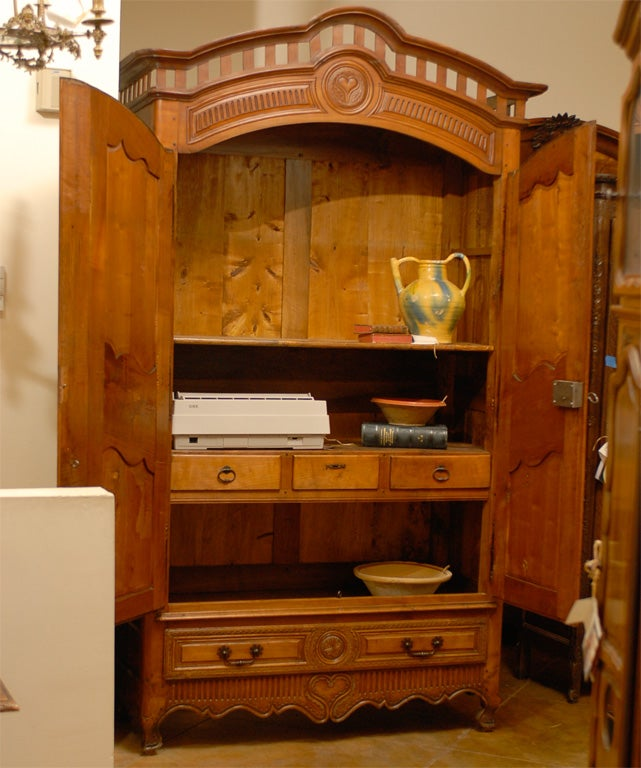 French Early 18th Century Cherry and Walnut Wedding Armoire from Brittany 9