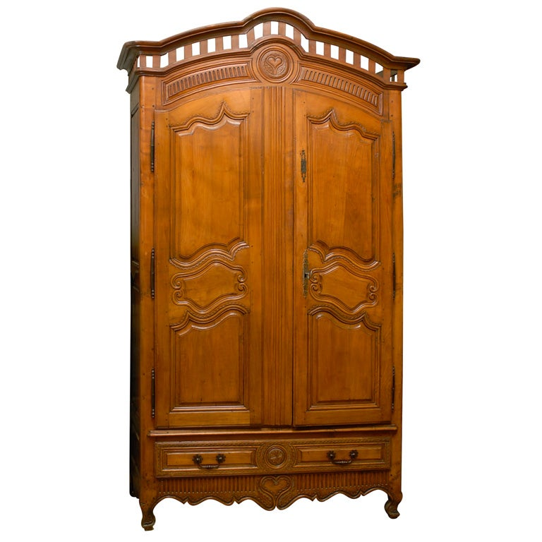 French Early 18th Century Cherry and Walnut Wedding Armoire from Brittany 1