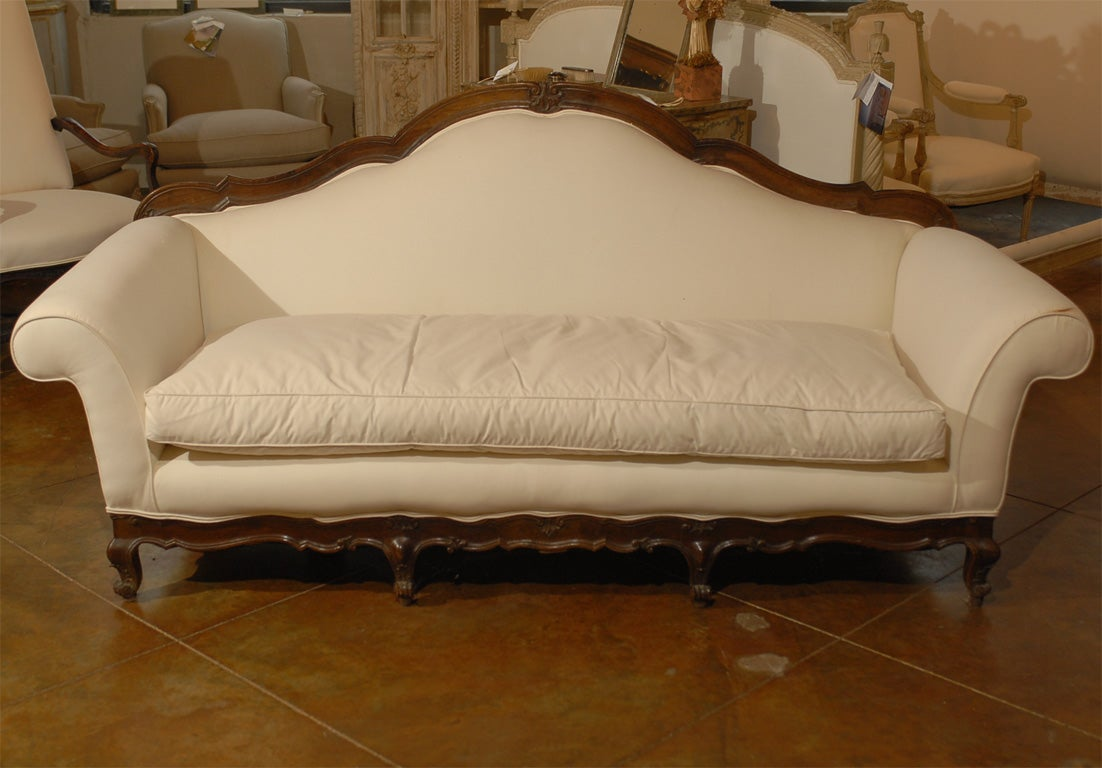 19th century italian baroque style walnut sofa from