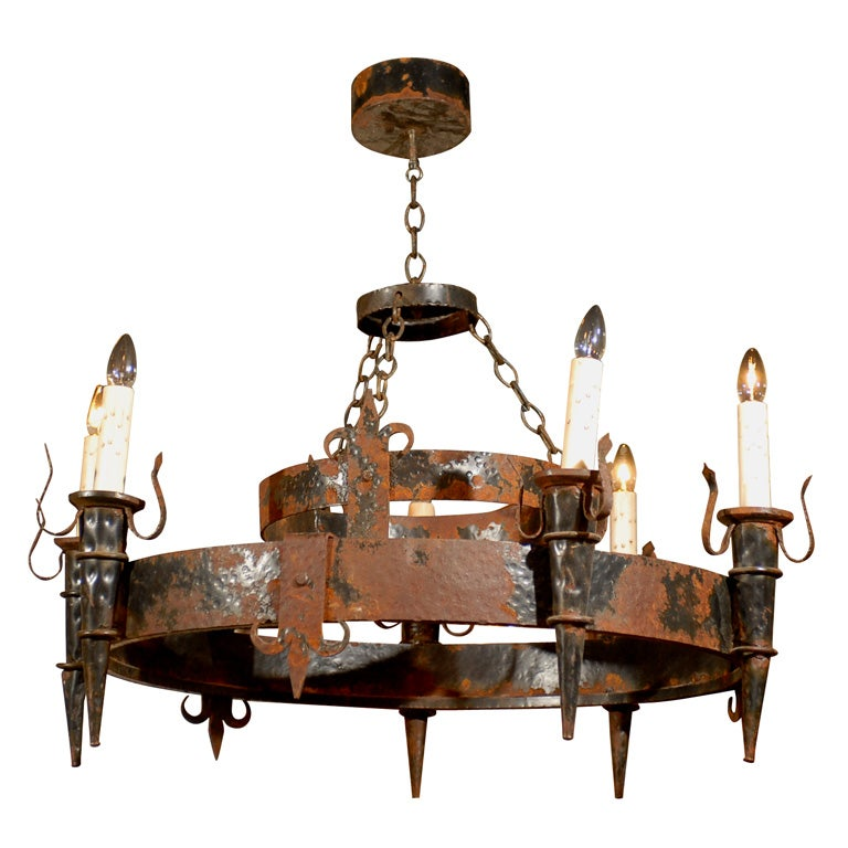 19th Century French Black Iron Chandelier at 1stdibs